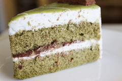 Green tea cake with red bean paste layer Royalty Free Stock Images