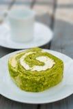 Green tea cake roll Royalty Free Stock Photo