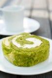 Green tea cake roll Stock Image