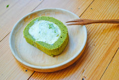 Green tea cake roll Royalty Free Stock Image