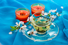 Green tea and candles Stock Photo