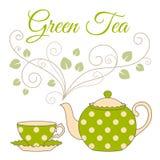 Green tea card Stock Image
