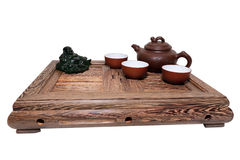 Green Tea Ceremony. Chinese tea ceremony isolated white background Stock Photography