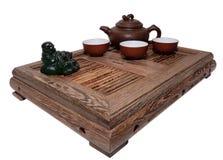 Green Tea Ceremony. Chinese tea ceremony isolated white background Stock Photo