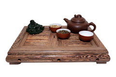 Green Tea Ceremony. Chinese tea ceremony isolated white background Stock Photos