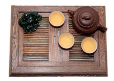 Green Tea Ceremony. Chinese tea ceremony isolated white background Royalty Free Stock Photo