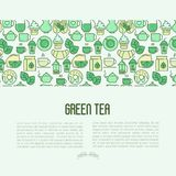 Green tea ceremony concept with thin line icons. Green tea ceremony and sale of tea beverages concept with thin line icons. Vector illustration for web page Royalty Free Stock Photography