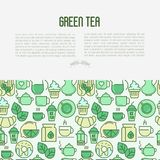 Green tea ceremony concept with thin line icons. Green tea ceremony and sale of tea beverages concept with thin line icons. Vector illustration for web page Stock Images
