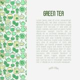 Green tea ceremony concept with thin line icons. Green tea ceremony and sale of tea beverages concept with thin line icons. Vector illustration for web page Stock Image