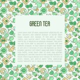 Green tea ceremony concept with thin line icons. Green tea ceremony and sale of tea beverages concept with thin line icons. Vector illustration for web page Stock Photos