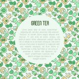 Green tea ceremony concept with thin line icons. Green tea ceremony and sale of tea beverages concept with thin line icons. Vector illustration for web page Royalty Free Stock Photo