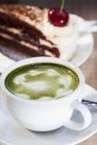 Green tea and Cheesecake Stock Photo