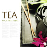 Green tea and chopsticks Royalty Free Stock Image