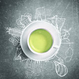 Green tea with circle ecology doodles. Sketched eco elements with cup of green tea Stock Photo