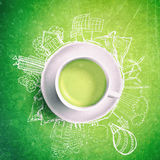 Green tea with circle ecology doodles. Sketched eco elements with cup of green tea. Green tea with ecology doodles. Sketched eco elements with cup of green tea royalty free stock image