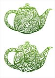 Green tea concept. Kettle with floral ornament Stock Photos