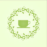 Green tea concept. Tea concept. Vector illustration with a circle of leaves and cup silhouette Stock Image