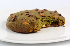Green tea Cookie is bited Royalty Free Stock Image