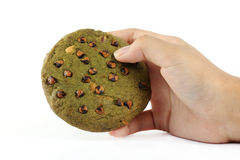 Green tea Cookie in hand Stock Photos