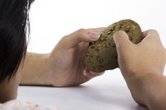 Green tea Cookie in hand Royalty Free Stock Photos