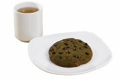 Green tea Cookie served with hot Tea Stock Images
