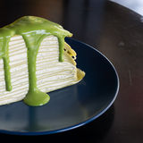 Green tea crape cake Royalty Free Stock Images