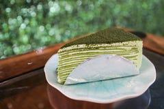 Green tea crepe cake Stock Photography