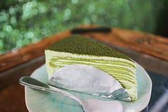 Green tea crepe cake Royalty Free Stock Photo
