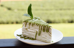 Green Tea Crepe Cake On White Disk Royalty Free Stock Images