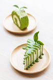 Green tea crepe cake. Royalty Free Stock Photography