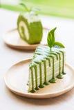 Green tea crepe cake. Stock Image