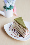 Green tea crepe cake Royalty Free Stock Images