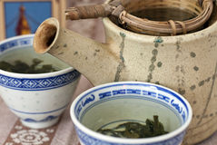 Green tea with cup Stock Photography