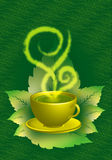 Green tea cup. Vector illustration of green tea or coffee which has separated its steam and heat as it is curved like a gentle soul that can touch with its Royalty Free Stock Images