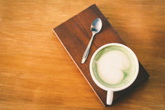 Green tea cup in cafe shop time to relax Stock Image