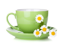 Green tea cup with camomiles Stock Photo