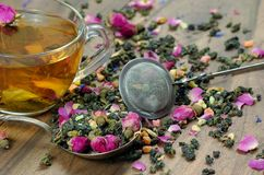 Green tea. cup of green tea with flowers and fruit pieces. blend tea. Close-up stock images