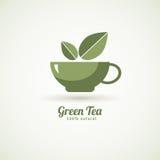 Green tea cup leaf design icon Stock Image