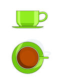 Green tea cup with plate. Blue tea cup vector illustration isolated on white background Royalty Free Stock Images
