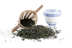 Green tea with cup and sieve Royalty Free Stock Photos