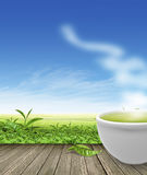Green tea cup on wooden floor background Stock Photography