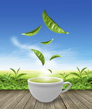 Green tea cup on wooden floor background Royalty Free Stock Photography