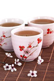 Green tea cups. Three teacups filled with japanese green tea Royalty Free Stock Photos