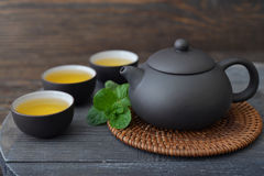 Green tea in cups Royalty Free Stock Photos