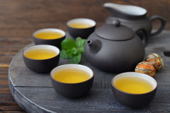 Green tea in cups royalty free stock image