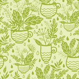 Green tea cups seamless pattern background Royalty Free Stock Photo