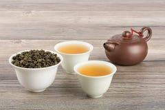 Green tea, cups, teapot Stock Photography