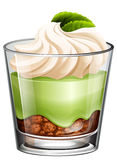 Green tea dessert in glass Royalty Free Stock Image