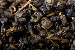 Green tea, dried tea leaves. Royalty Free Stock Images
