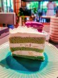 Green tea flavor milk cake. Royalty Free Stock Photos